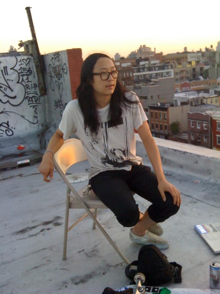 Clay Kessack skateboarding on a rooftop in Williamsburg.